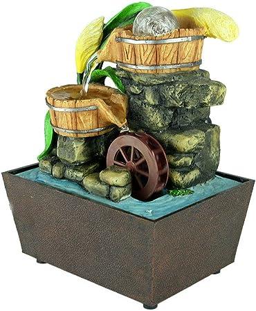 BFZJ decor Cascada de Escritorio Fuente de Agua Caño Jardín Zen con Bola giratoria Acento para el hogar Decoración de casa de Mesa Natural: Amazon.es: Hogar