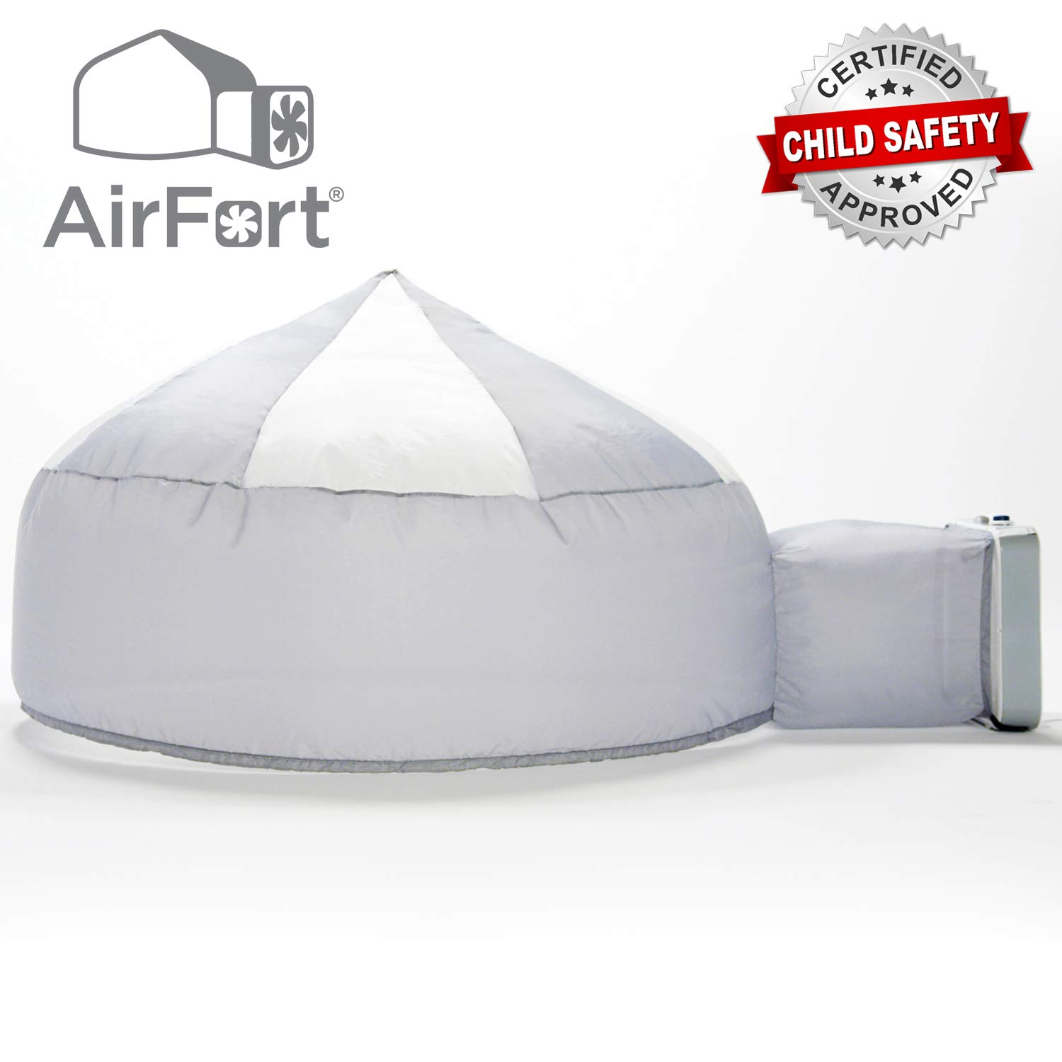 The Original AirFort Build A Fort in 30 Seconds, Inflatable for Kids, Gray/White