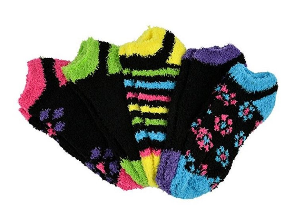 NO-SHOW FUZZY SOCKS 5 PAIR PACK ASSORTED COLORS (STYLE 1)
