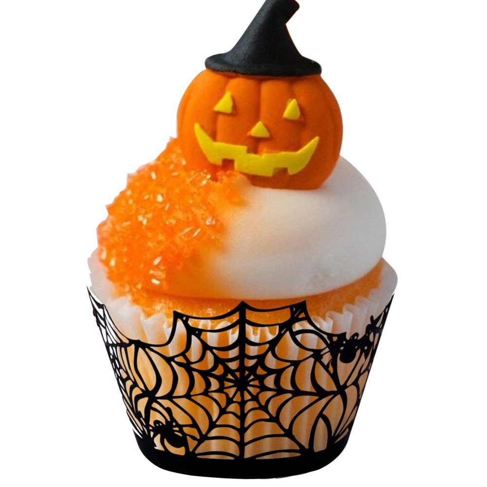 12Pcs Halloween Cake Cupcake Wrappers Black  Spiderweb Switch Party Decoration