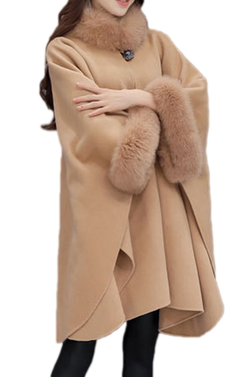 Women Winter Casual Plain Loose Asymmetric Poncho Cape Coat Outerwear With Faux Fur CANZ1961