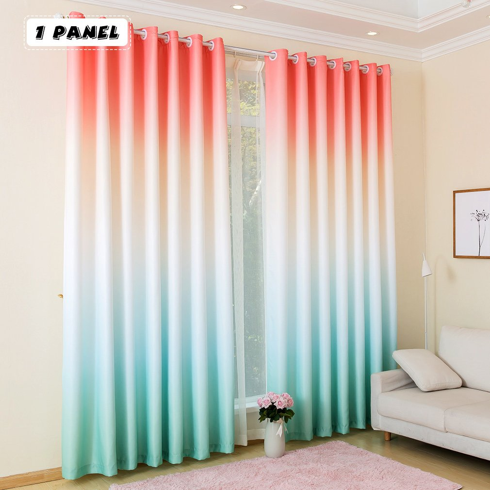 KINLO 1 Panel Eyelet Blackout Curtains 145 X 245 Cm Gradient Color