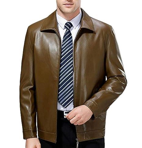 PFSYR Abrigo de Cuero para Hombres, Business Solapel Fashion Abrigo de Cuero cálido y Confortable