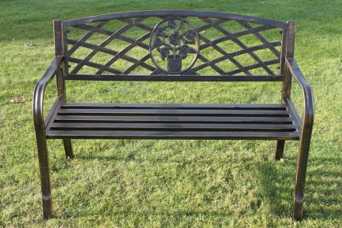 metal garden bench with floral pattern insert complete with cushion ...
