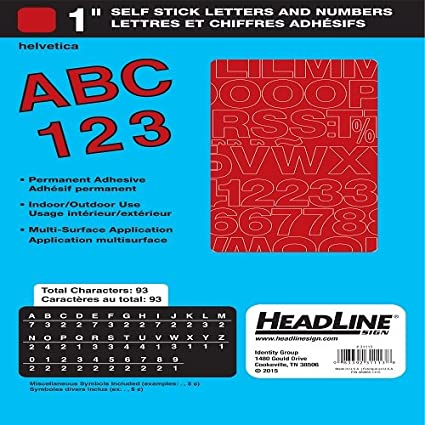 Amazon.com : Headline Sign 31113 Stick-On Vinyl Letters and Numbers ...