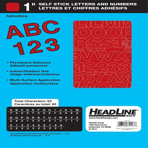 Headline Sign 31113 Stick-On Vinyl Letters and Numbers, Red, 1-Inch