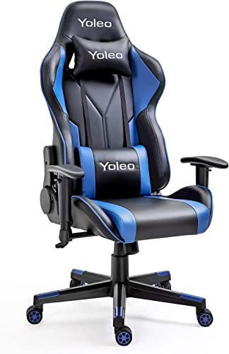 Gaming Chair -Yoleo Ergonomic Computer Gaming Chair Adjustable Armrest High Back Office Chair Mute Casters Desk Chair with Lumbar Support and Headrest, Recliner Chair BIFMA Certified Black Blue