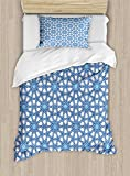 Arabian Duvet Cover Set by Ambesonne, Traditional Moorish Turkish Tangled Pattern and Geometric Lines Mosque Islamic Art, 2 Piece Bedding Set with Pillow Sham, Twin / Twin XL, Blue White