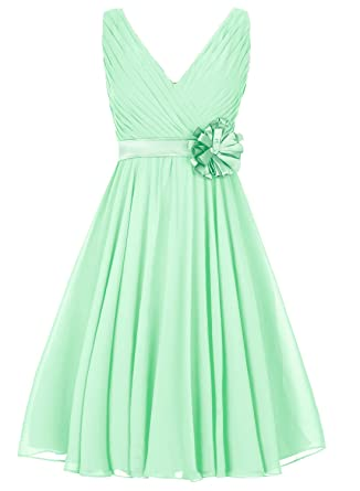 LIZAIA Womens Chiffon Short Bridesmaid Dresses V-Neck Prom Dress Evening Gowns With Flora -