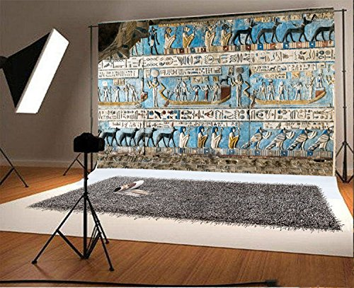 7x5FT Laeacco Vinyl Photography Background Egyptian Wall Painting Art Retro Colored Mural Background God Temple Walls Carved Figures Egyptian Mural Background Stone Wall Historical Shoot Video Prop