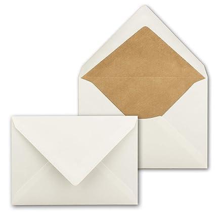 UmWelt - Sobres para Cartas (75 Unidades, Papel de estraza, DIN C6, Forro de Seda Blanco, Pegado en húmedo sin Ventana, 114 x 162 mm), Color marrón ...
