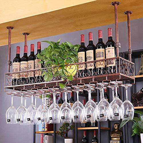 Warm Van 47.2''L Industrial Vintage Bar Floating Shelf,Under Shelve Hanging Rack,Retro Iron Upside Down Stemware Goblet Wine Glass Holder,Restaurant or Cafe Tableware Bottle Storage (Bronze)
