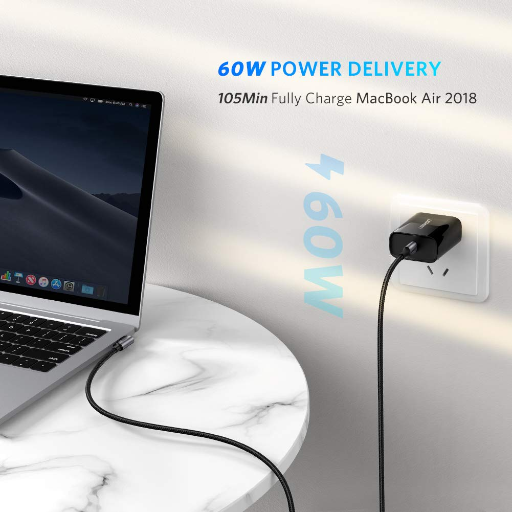 UGREEN Cable USB C a USB C PD Carga Rapida 20V 3A 60W Cargador USB Tipo C Nylon 90 Grados PowerDelivery Thunderbolt 3 para Macbook Pro 2018 2017 MacBook Air 1 Metro iPad Pro 2018 Nexus 5X 6P