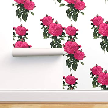 Spoonflower Peel And Stick Removable Wallpaper Floral Hot Pink Rose Green Cottage Chic Flowers Romantic Botanical Print Self Adhesive Wallpaper 12in X 24in Test Swatch Amazon Com