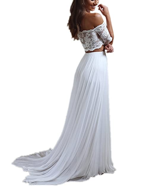 APXPF Women\'s Two Piece Chiffon Beach Lace Wedding Dress for Bride ...