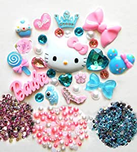 LOVEKITTY DIY Kitty Bling Bling Cell Phone Case Resin Flatback Kawaii Cabochons Deco Kit / Set