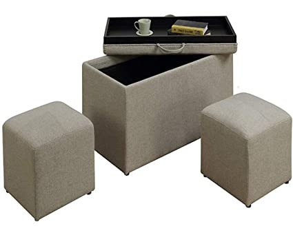 Incredible Amazon Com Gt Storage Ottoman Bench Set Soft Beige Fabric Gmtry Best Dining Table And Chair Ideas Images Gmtryco