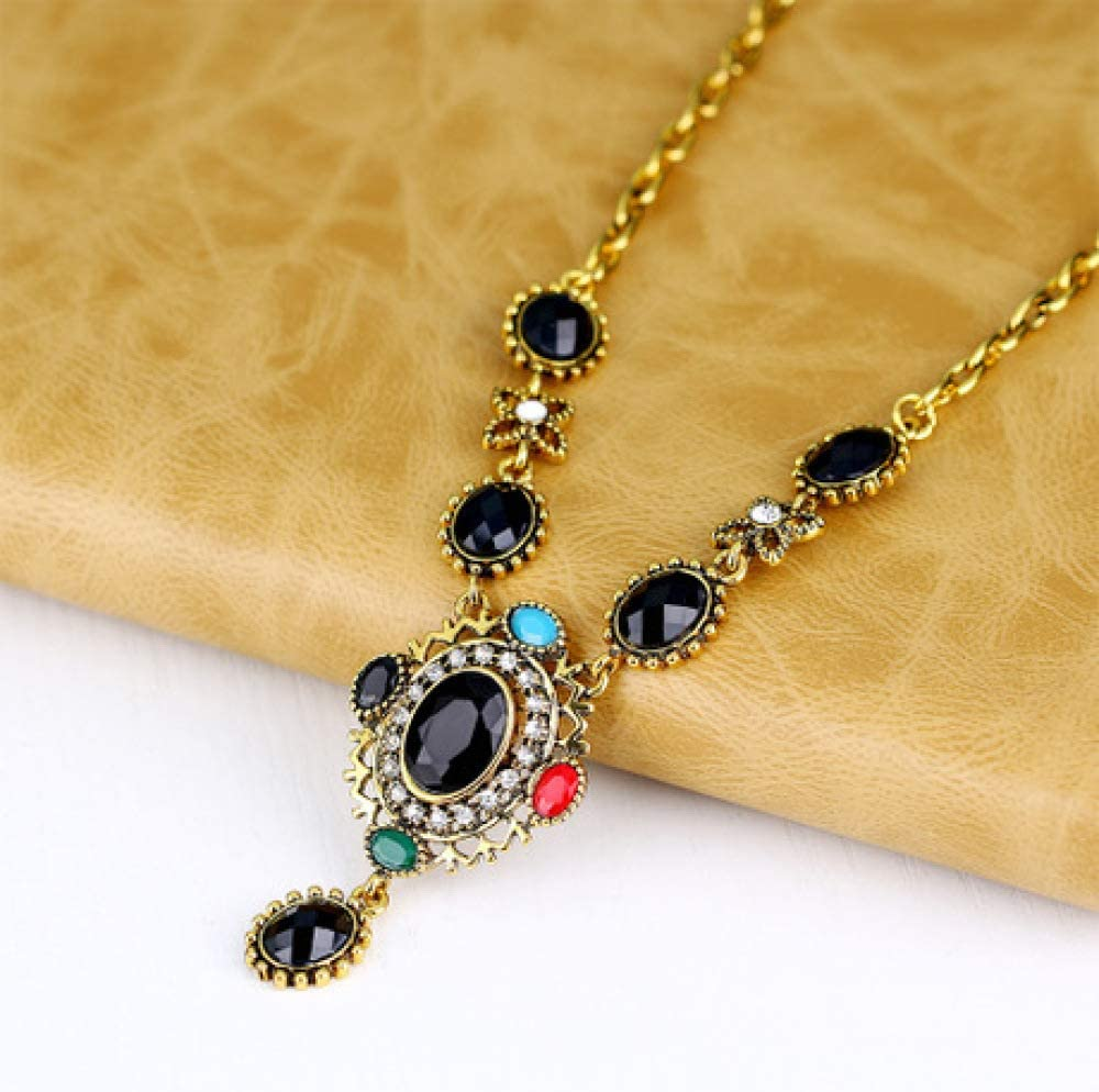 Women Necklace Pendant,Womens Alloy Necklace Earrings Set of Two Sets of Gemstone Jewelry Circumference 45cm8cm MYYQ
