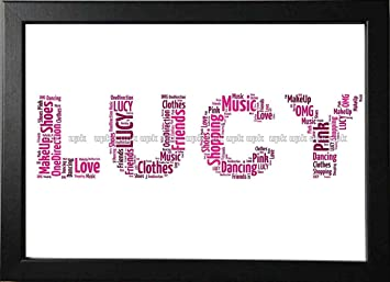UPK Gifts Personalised Print Gift Word Art with FRAME Christmas NAME Best  Friend Mothers Day Mum Celebration Friends Birthday
