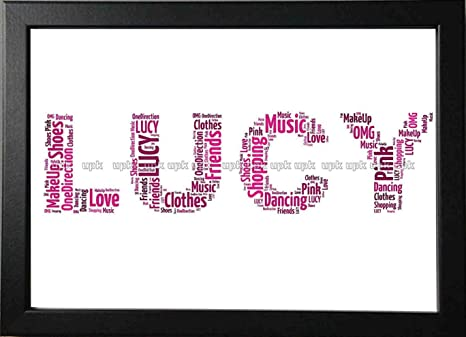 UPK Gifts Personalised Print Gift Word Art With FRAME Christmas NAME Best Friend Mothers Day Mum