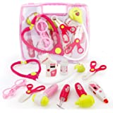 SONi Doctor Kit Pretend Play 10pcs Medical Toys Set with Electronic Stethoscope Pack in Pink Durable Gift Case Doctor Toys for Girls and Kids