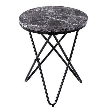 IKAYAA Tavolo Moderno Rotondo Tavolino da Salotto in Metallo Tavolo ...