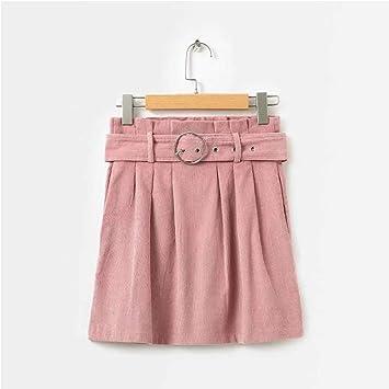 HEHEAB Falda,Corduroy Rosa Cintura Alta Mini Falda Mujeres Fajas ...