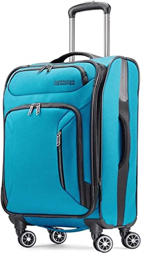 American Tourister Zoom Softside Luggage with Spinner Wheels, Teal Blue, Carry-On 21-Inch