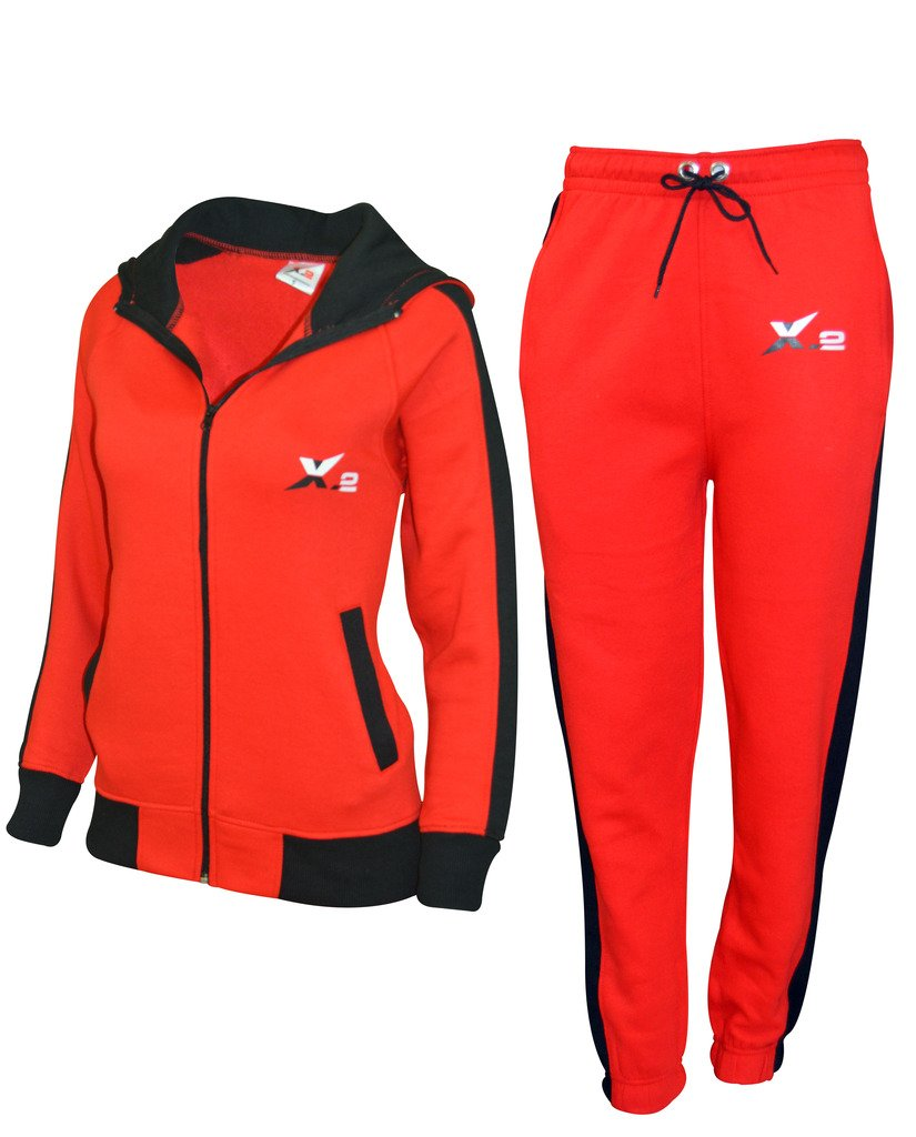 X-2 Women Athletic Full Zip Fleece Tracksuit Jogging Sweatsuit Activewear Hooded Top