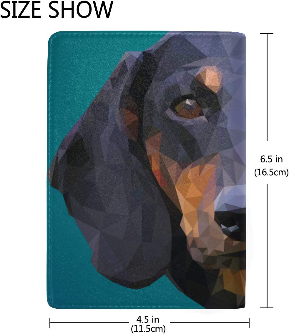 Dachshunds With Police Flags Blocking Print Passport Holder Cover Case Travel Luggage Passport Wallet Card Holder Made With Leather For Men Women Kids Family
