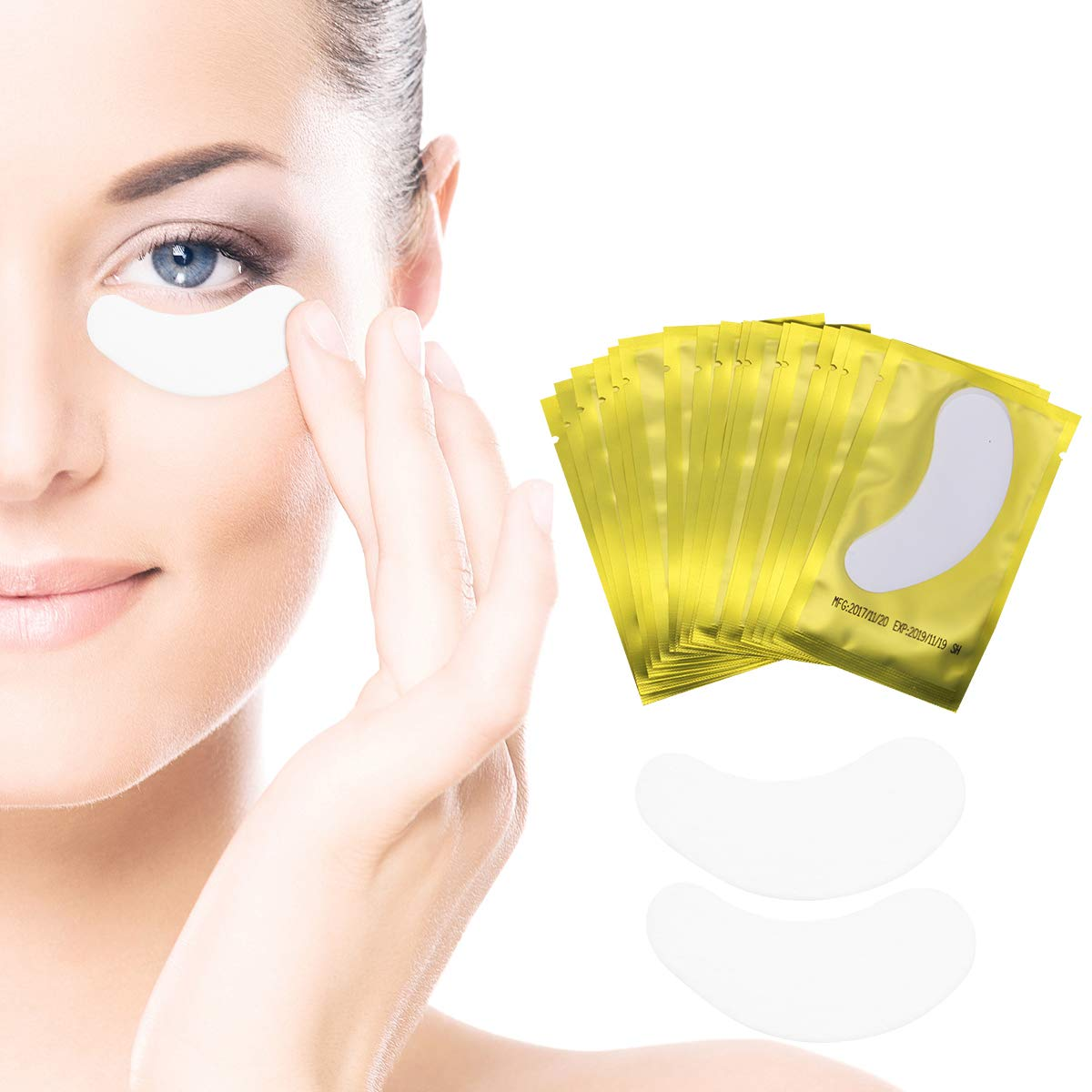 Eye Gel Pads - 100 Pairs of Eyelash Lash Extension Under Eye Gel Pads Lint Eye Patches(GOLD)