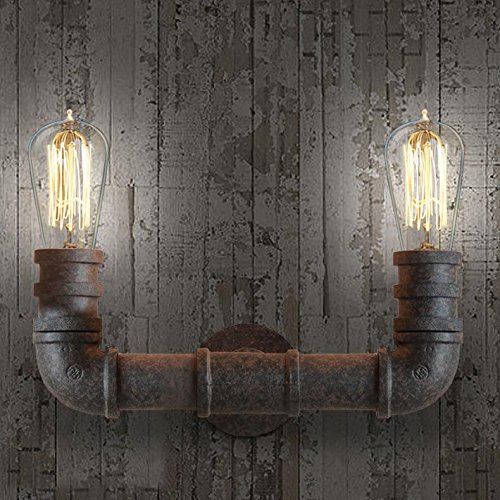 Wall Lamps Uae : BAYCHEER HL371005 Steel Pipe Double Metal Wall Lamp Vintage Edison Retro Steampunk Water Pipe ...
