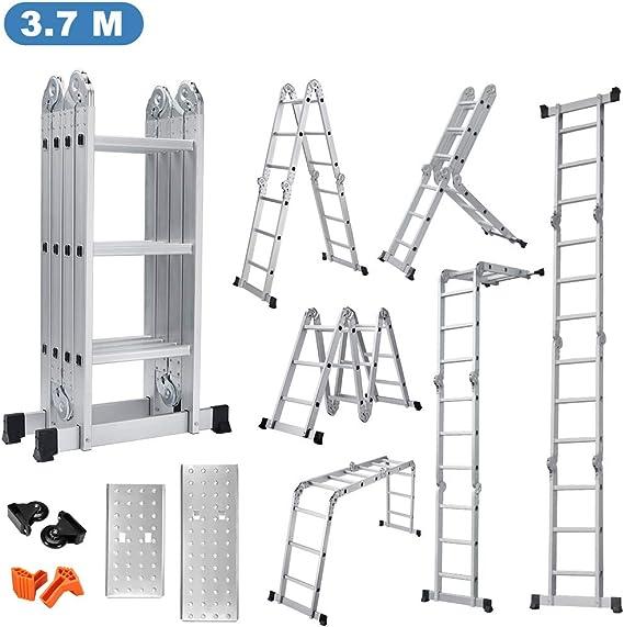 Finether-3.7M Escalera Plegable (12.1FT, Multi-propósito Extensible, Buena Calidad, Mayor Seguridad, Aluminio) (Sin panel): Amazon.es: Bricolaje y herramientas