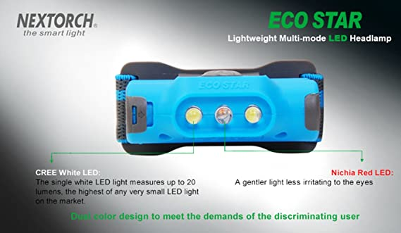 Nextorch ECO STAR 48 lumen Upgraded 2AAA Lightweight Multi-mode Red//White LED Headlamp Color
