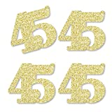 Gold Glitter 45 - No-Mess Real Gold Glitter Cut-Out Numbers - 45th Birthday Party Confetti - Set of 24