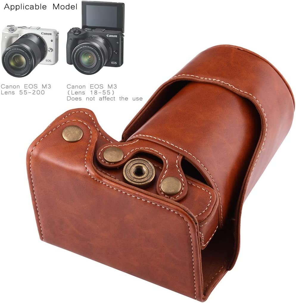 Black Color : Brown Full Body Camera PU Leather Case Bag with Strap for Canon EOS M3 Durable