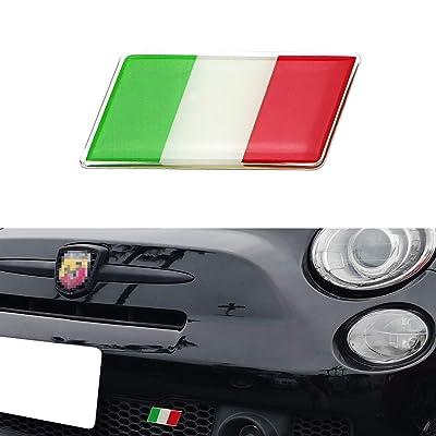 iJDMTOY Italian Flag Emblem Badge with L Shaped Mounting Bracket Fit Car Front Grille Compatible with Fiat Alfa Romeo Ferrari Maserati Lamborghini, etc: Automotive