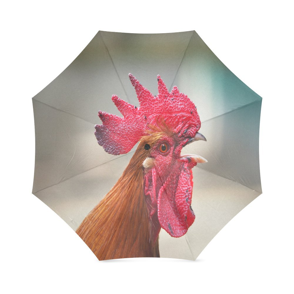 free shipping Custom Rooster Compact Travel Windproof Rainproof Foldable Umbrella