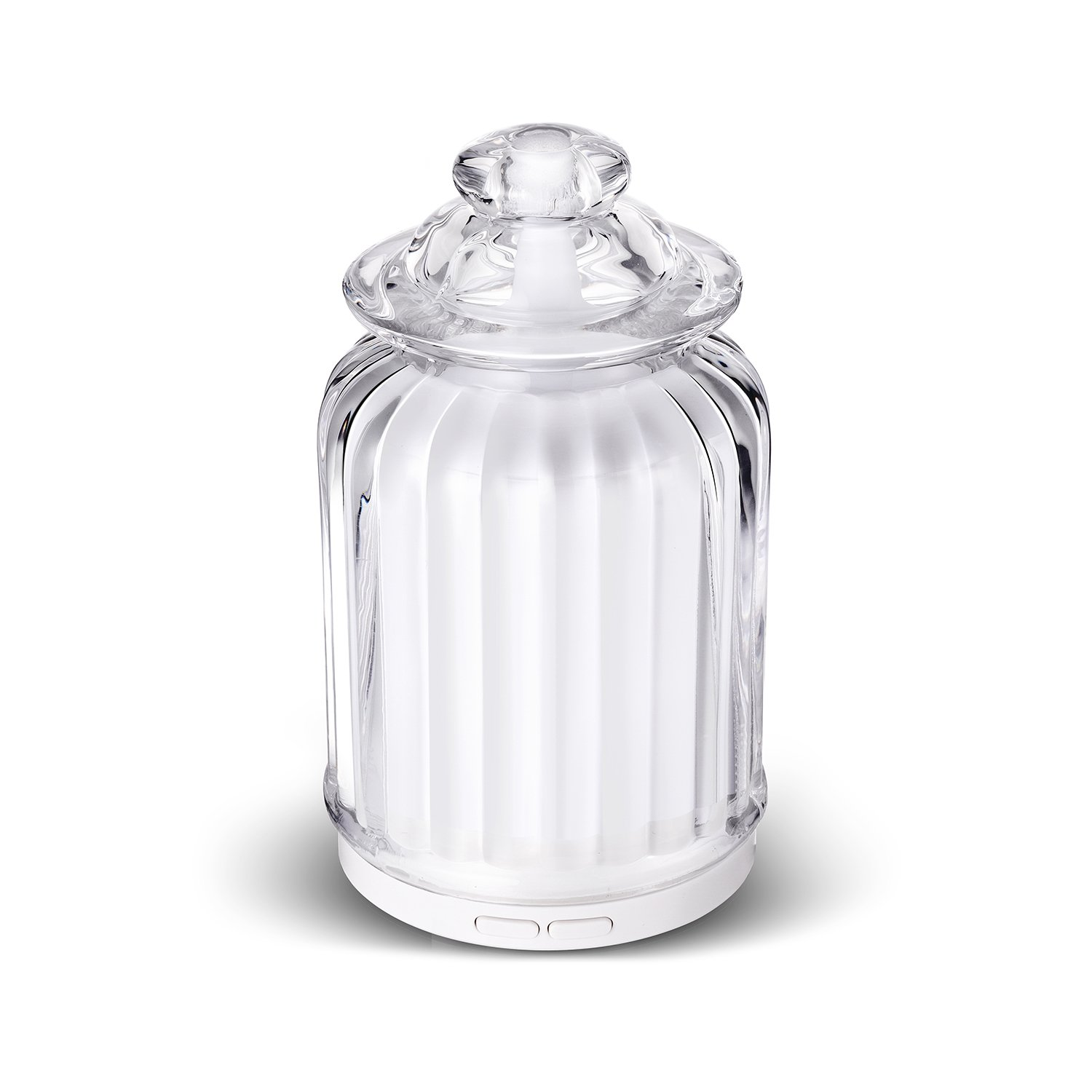 AromaAllure Glass Ultrasonic Aromatherapy Diffuser, White Glass Diffuser for Home, Office, Car, Travel