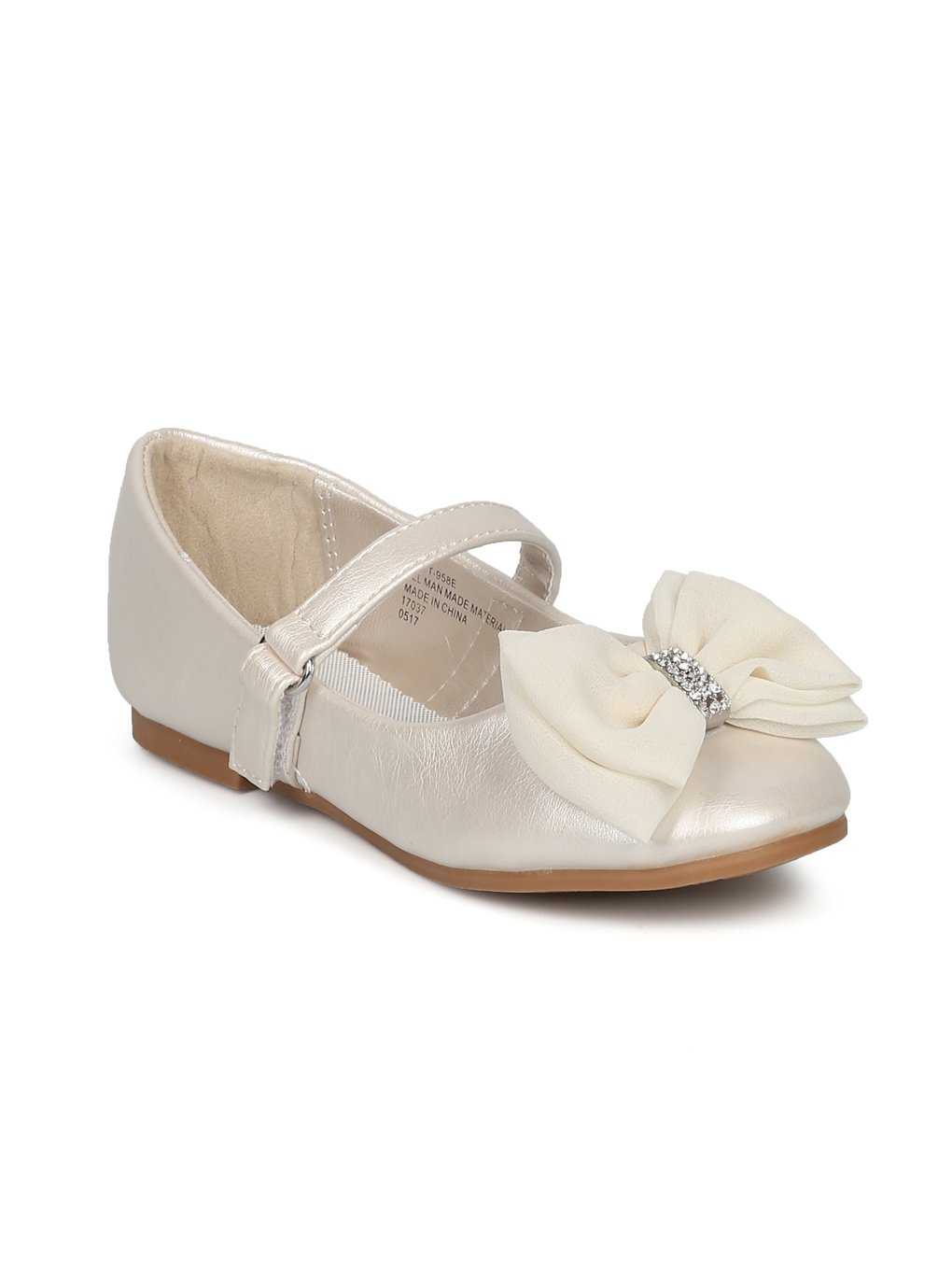 Alrisco Girls Bow Tie Mary Jane Ballerina Flat HE69 - Ivory Leatherette (Size: Toddler 8)