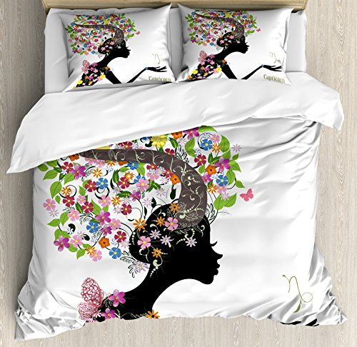 Ambesonne Zodiac Capricorn Queen Size Duvet Cover Set, Woman Silhouette with Horns and Blooming Colorful Floral Elements Design, Decorative 3 Piece Bedding Set with 2 Pillow Shams, Multicolor Blooming Silhouette