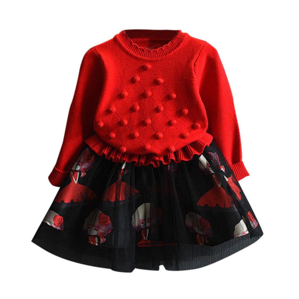 Baby Girls Dresses Outfit,Clode® Fashion 2PCS Toddler Kids Baby Girls Outfits Clothes Knitted Sweater Crochet Pullovers Tops and Tulle Skirt Winter Autumn Clothes Set Clode-T65