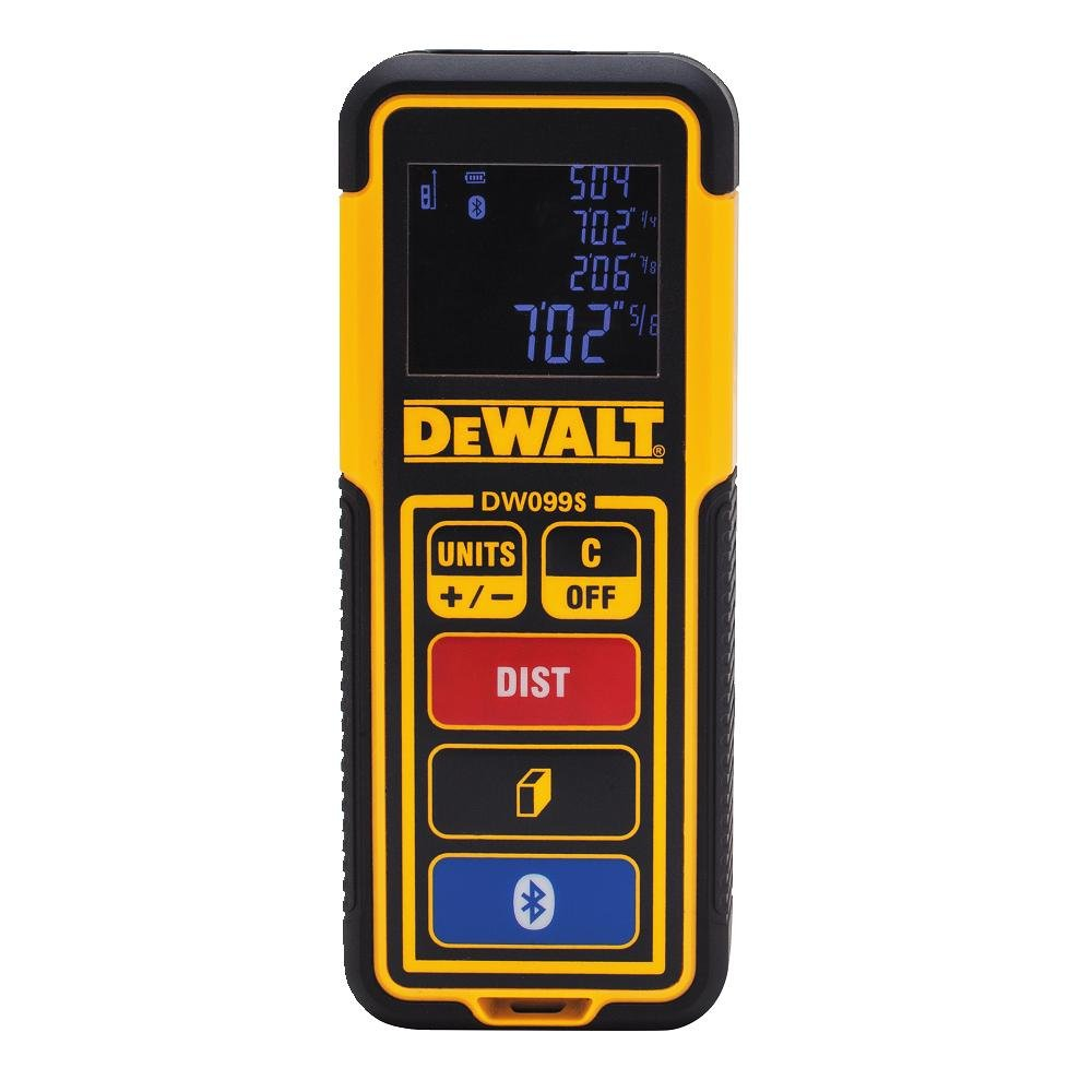 DEWALT DW099S Bluetooth-Enabled Laser Distance Measurer, 100'