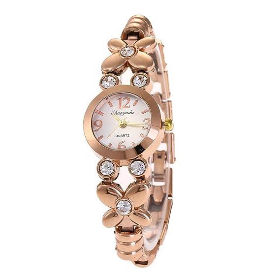 YAZILIND cuarzo reloj de pulsera ronda reloj de titanio de acero rhinestone correa para las mujeres (oro rosa): Amazon.es: Relojes