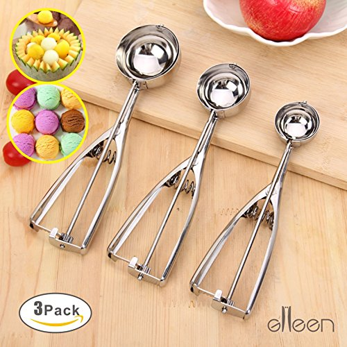Ice Cream Scoop - 3 Piece Stainless Steel. Ideal For Scoop And Drop Cookie Dough Or Cake Pops (Small,Medium,Large) by GLLEEN