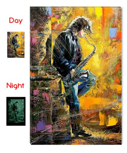 Startonight Canvas Wall Art Young Guy Playing the Saxophone, Music Glow in the Dark, Dual View Surprise Artwork Modern Framed Ready to Hang Wall Art 100% Original Art Painting 80 x 120 cm