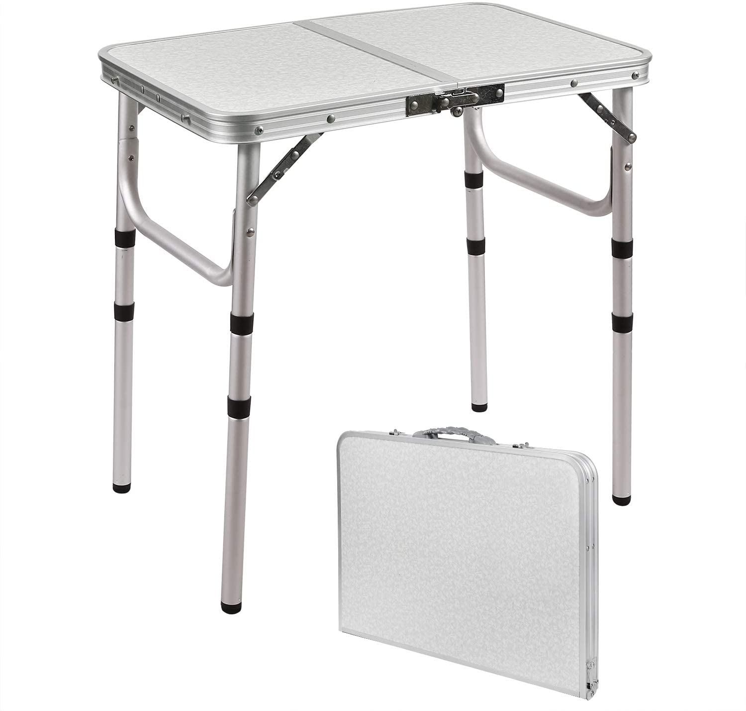 RedSwing Small Folding Table 2 Feet, Small Foldable Table Adjustable Height, Lightweight Portable Aluminum Camping Table, 24x16 Inches, 3 Heights 10''/19''/27''