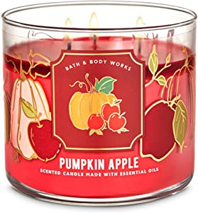 Bath and Body Works White Barn Pumpkin Apple 3 Wick Candle 14.5 Ounce Notes: Red Delicious Apple, Fall Pumpkin, Fresh Ground Cinnamon, Clove Buds