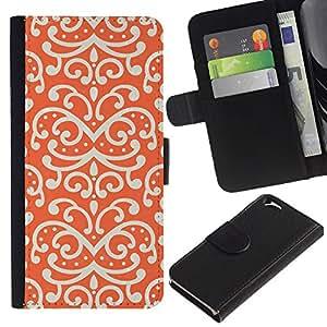 KingStore / Leather Etui en cuir / Apple Iphone 6 / Patrón Dibujo Wallpaper Rojo blanco del arte