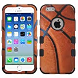 Apple iPhone 6S 6, 4.7 Inch Case - Wydan TUFF Hybrid Hard Shockproof Phone Case Protective Heavy Duty Shock Resistant Absorbant Tough Impact Cover - Basketball